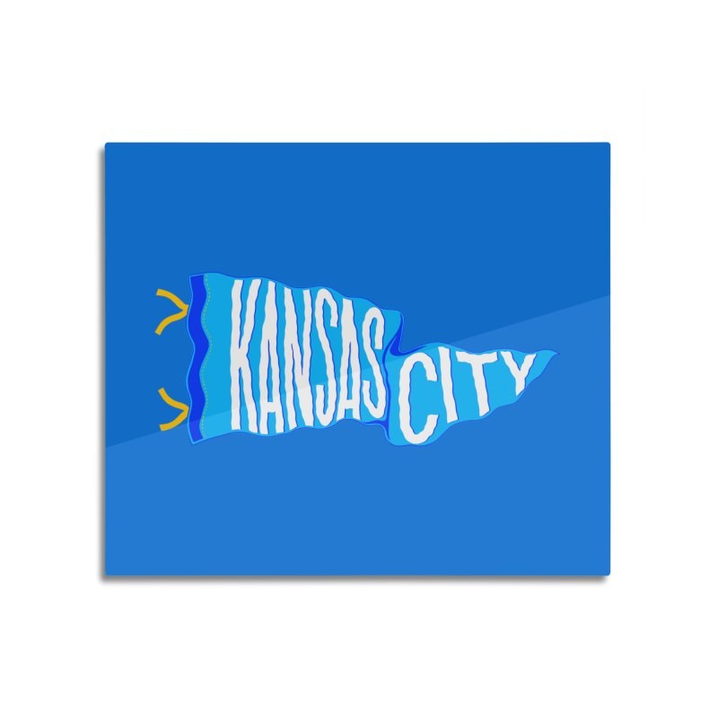 Kansas City Pennant Blue Home Mounted Acrylic Print by redleggerstudio's Shop