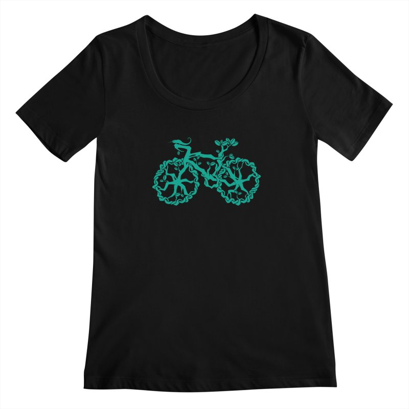 Bike Tree Women's Scoopneck by redmunky's Artist Shop