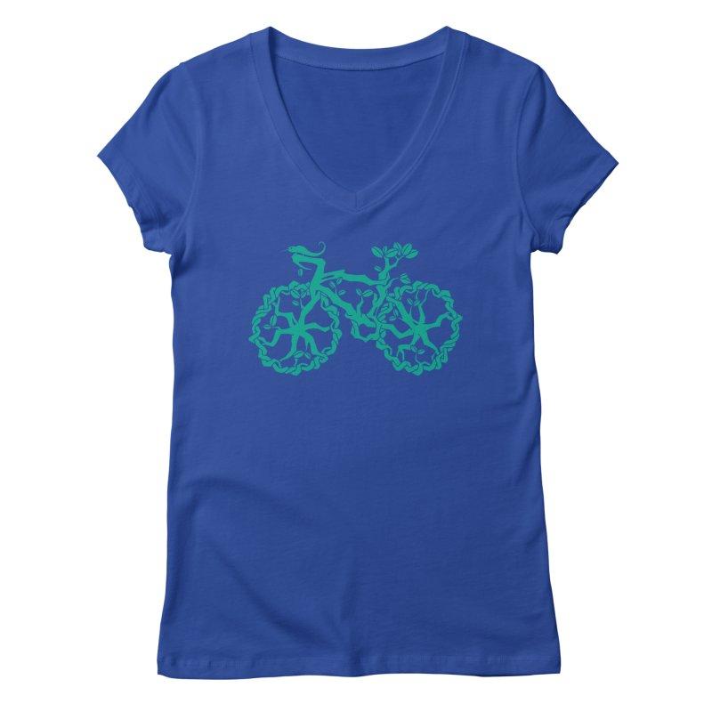 Bike Tree Women's V-Neck by redmunky's Artist Shop