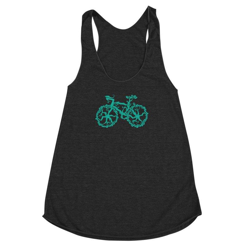 Bike Tree Women's Racerback Triblend Tank by redmunky's Artist Shop