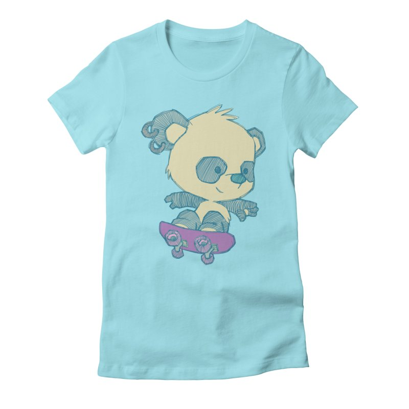 PandaSk8 Women's Fitted T-Shirt by redmunky's Artist Shop