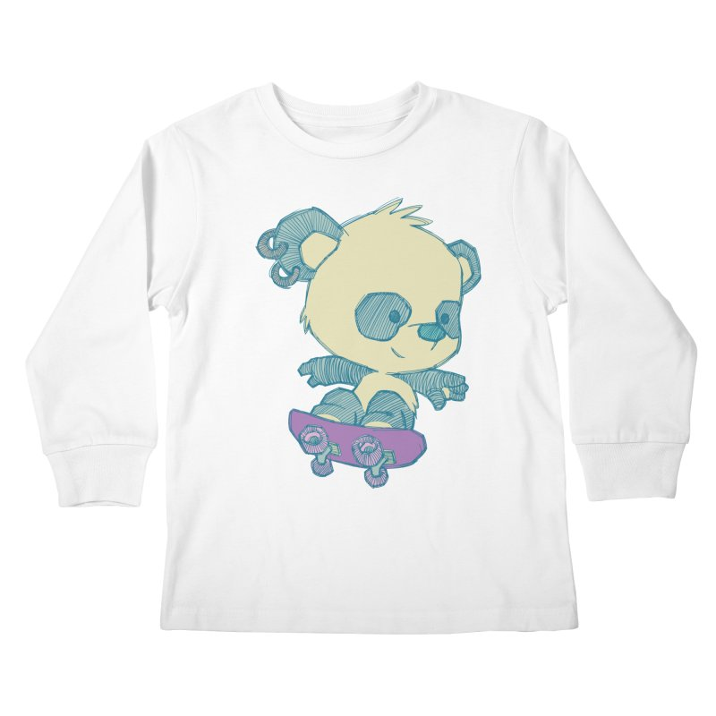 PandaSk8 Kids Longsleeve T-Shirt by redmunky's Artist Shop