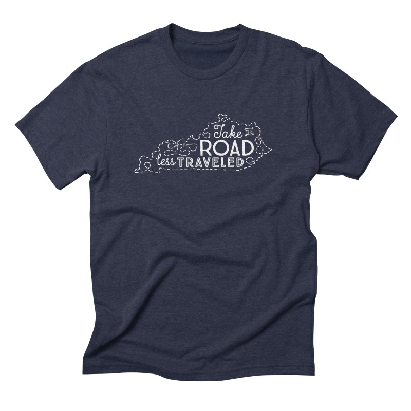 Kentucky Road Less Traveled in Men's Triblend T-Shirt Navy by Red Pixel Studios