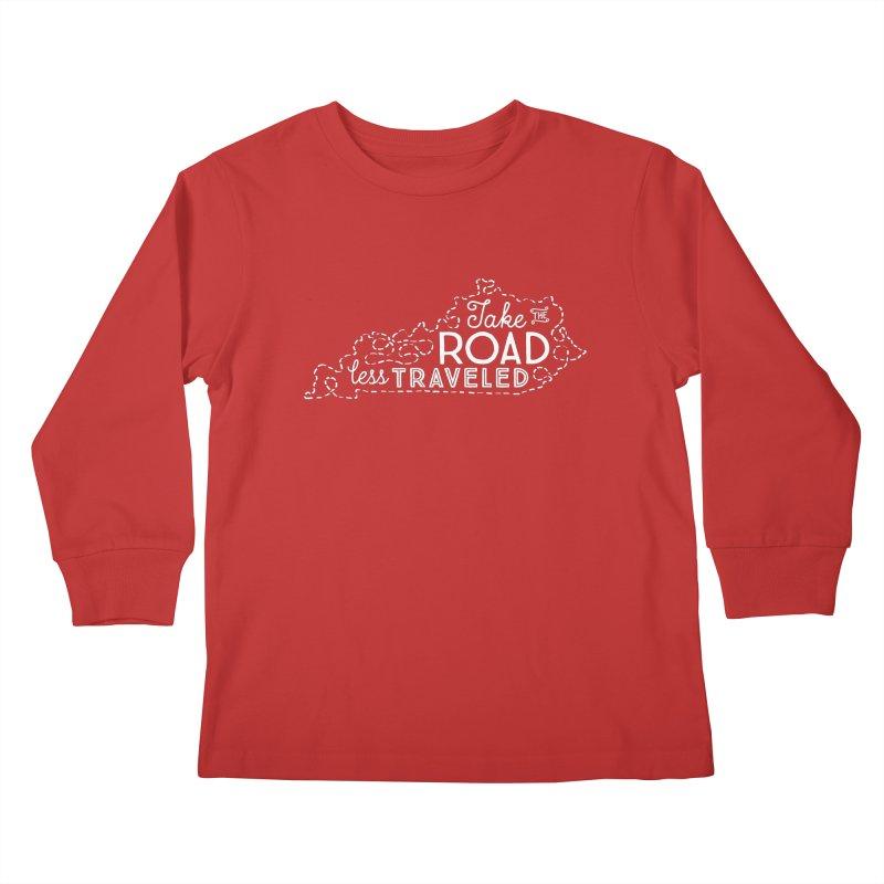 Kentucky Road Less Traveled Kids Longsleeve T-Shirt by Red Pixel Studios