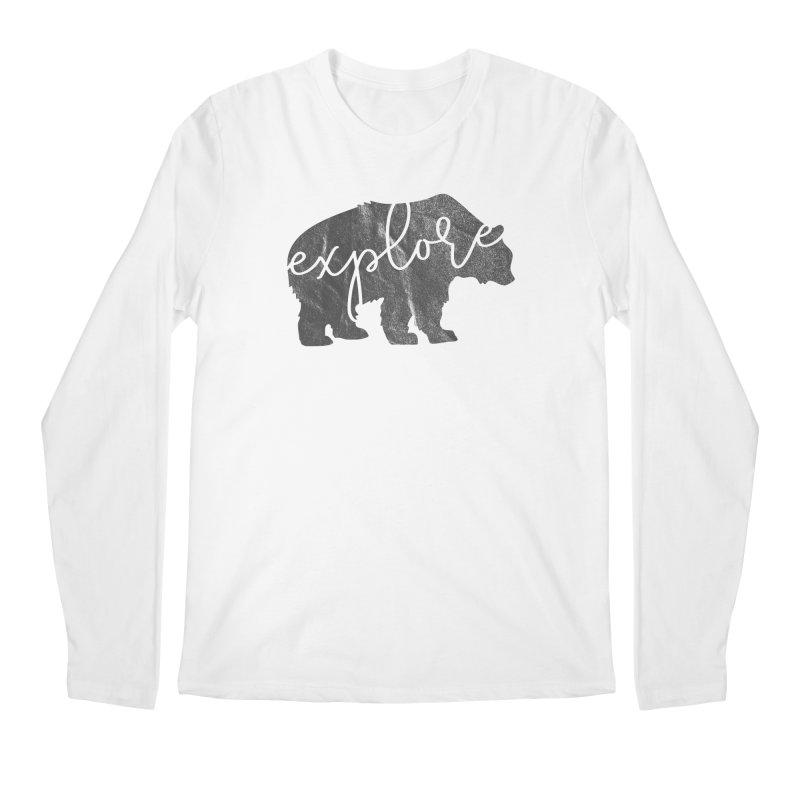 Explore Bear Men's Regular Longsleeve T-Shirt by Red Pixel Studios