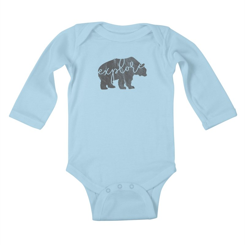Explore Bear Kids Baby Longsleeve Bodysuit by Red Pixel Studios