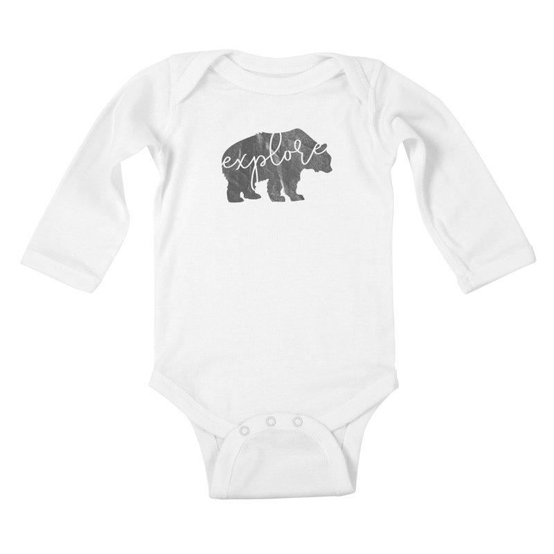 Explore Bear Kids Baby Longsleeve Bodysuit by Red Pixel Studios