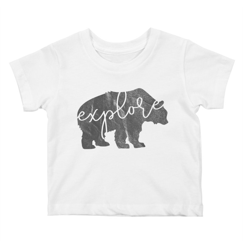Explore Bear Kids Baby T-Shirt by Red Pixel Studios