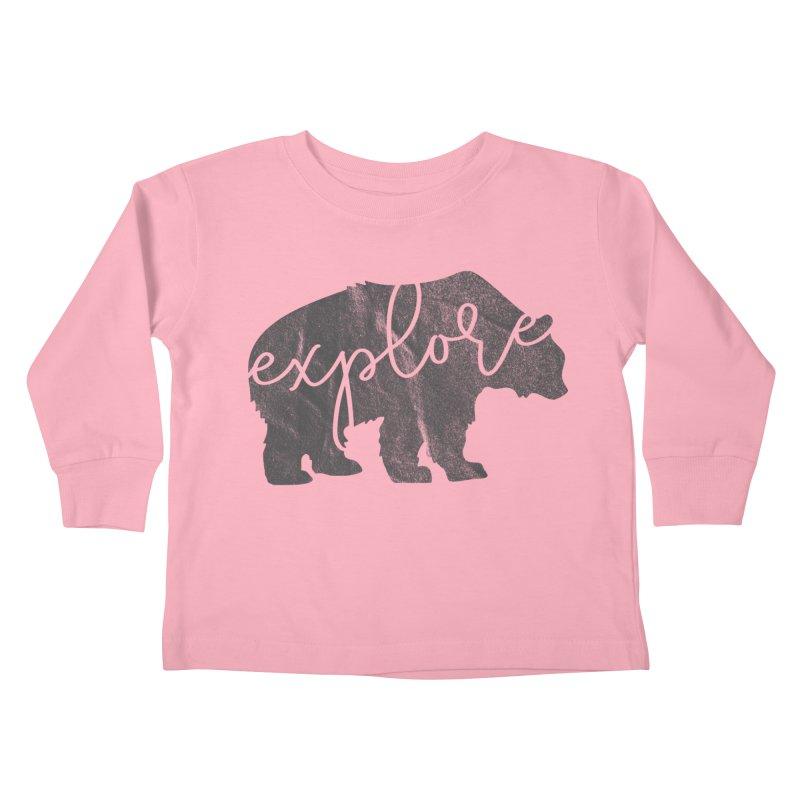 Explore Bear Kids Toddler Longsleeve T-Shirt by Red Pixel Studios