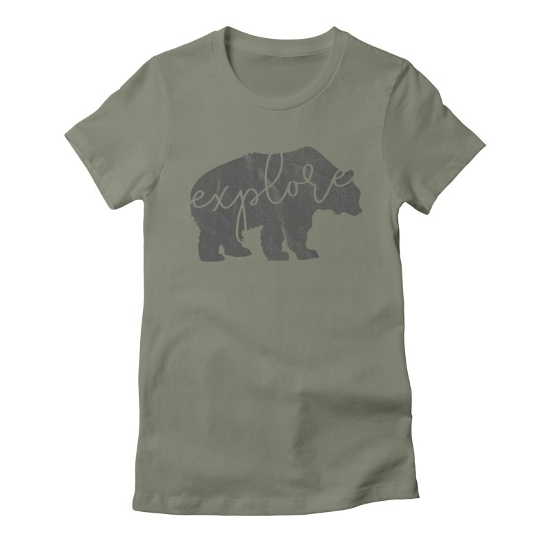 Explore Bear Women's Fitted T-Shirt by Red Pixel Studios