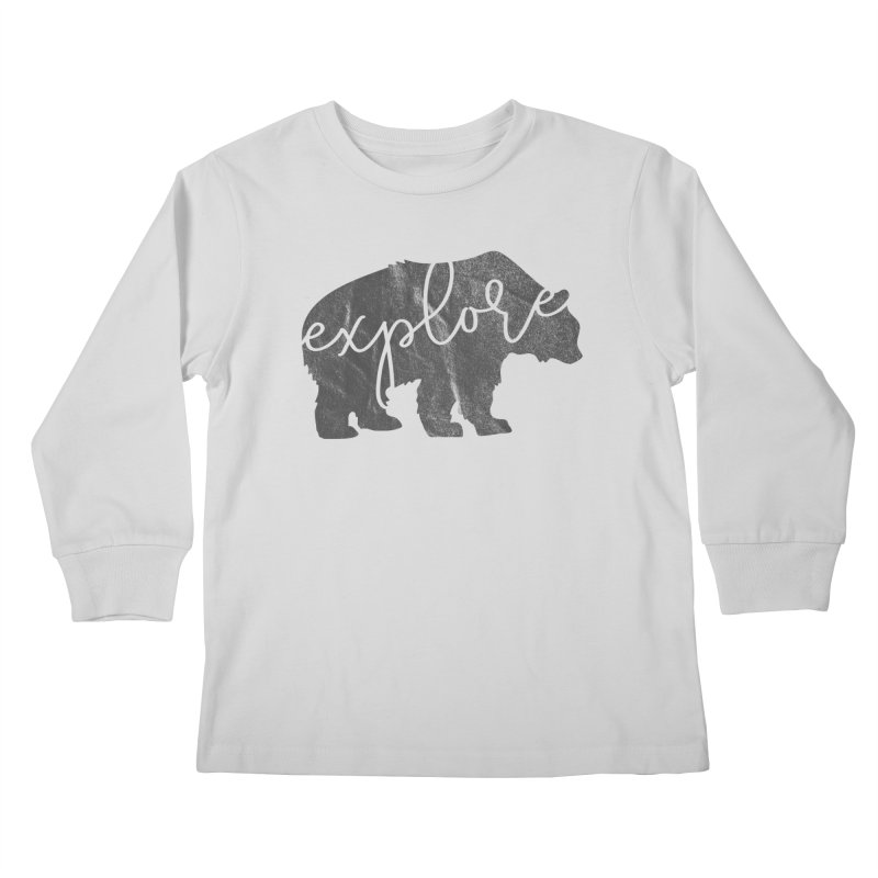 Explore Bear Kids Longsleeve T-Shirt by Red Pixel Studios