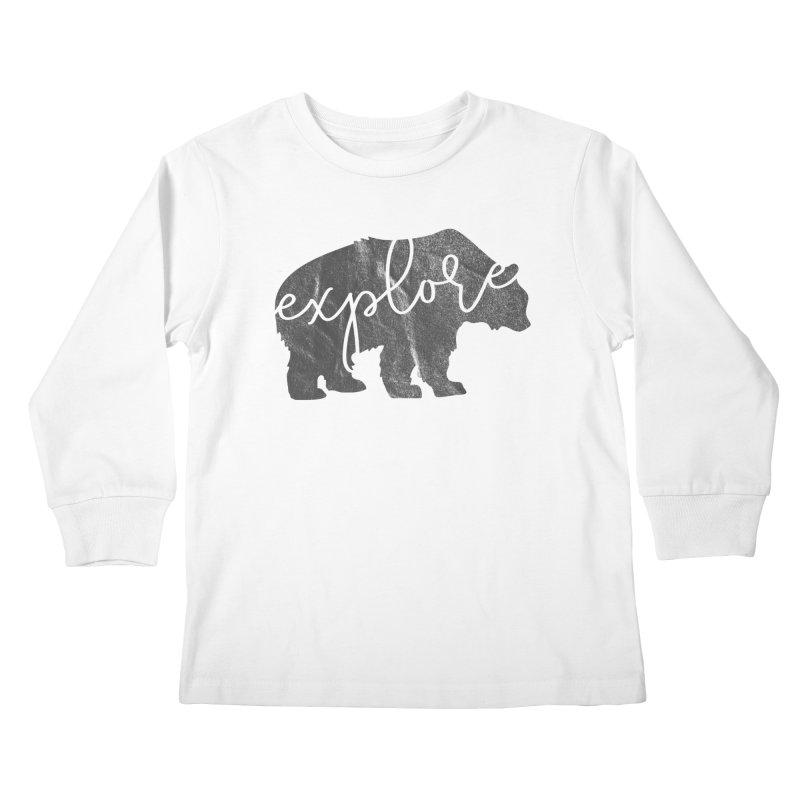 Explore Bear Kids Longsleeve T-Shirt by Red Pixel Studios