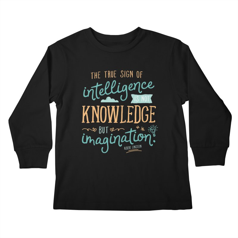 True Sign of Intelligence Kids Longsleeve T-Shirt by Red Pixel Studios