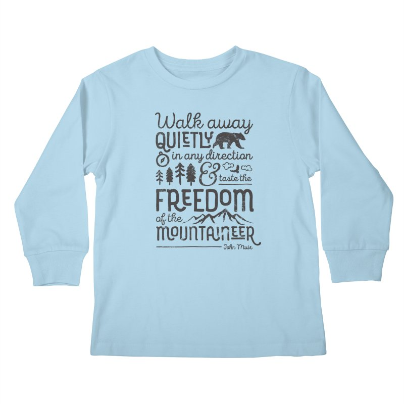 Freedom of the Mountaineer Kids Longsleeve T-Shirt by Red Pixel Studios