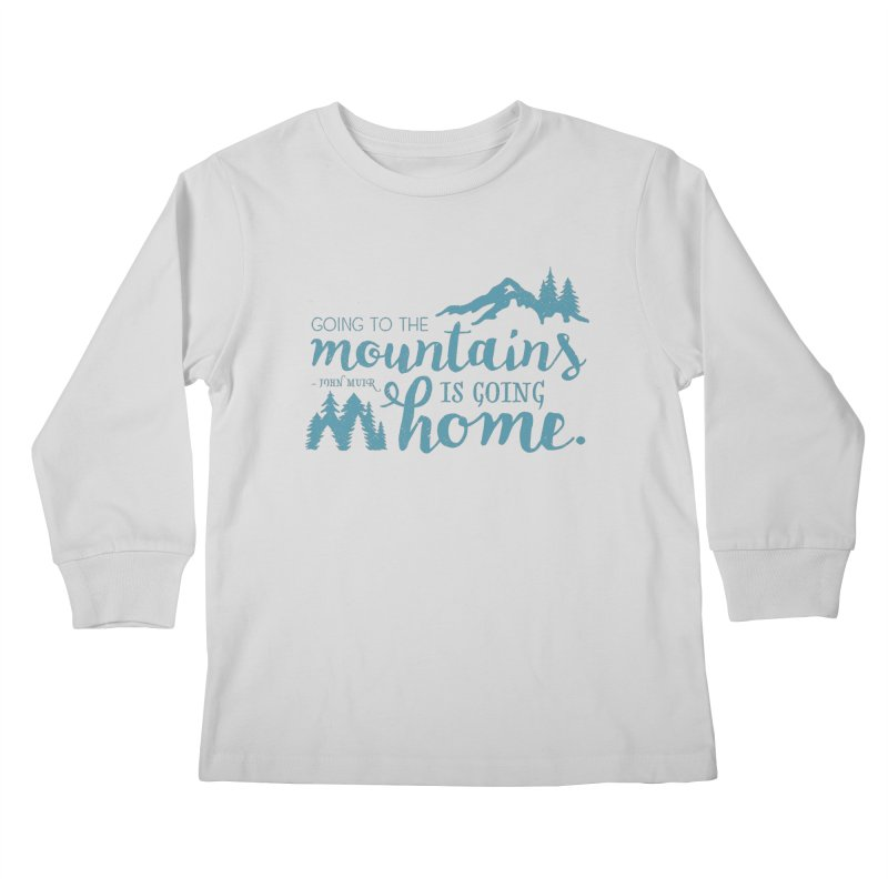 Going to the Mountains Kids Longsleeve T-Shirt by Red Pixel Studios