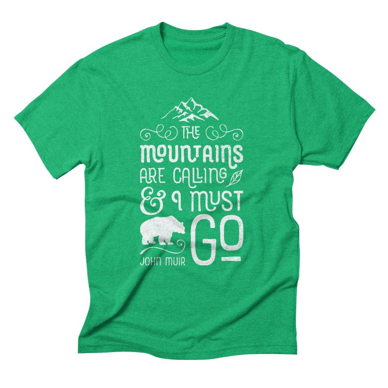 The Mountains Are Calling – In White Men's T-Shirt by Red Pixel Studios