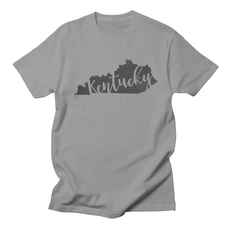 Kentucky Script Map – In Gray in Men's Regular T-Shirt Slate by Red Pixel Studios