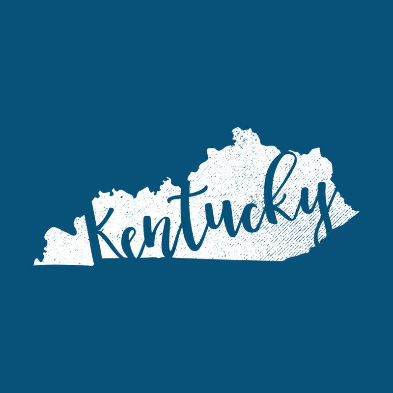 Kentucky Script Map – In White Women's T-Shirt by Red Pixel Studios
