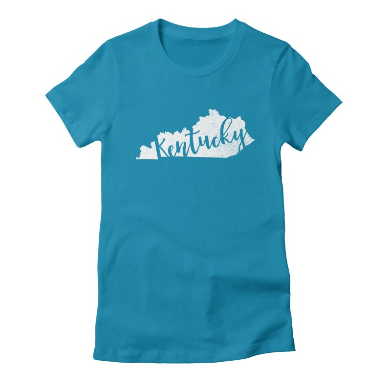 Kentucky Script Map – In White in Women's Fitted T-Shirt Turquoise by Red Pixel Studios