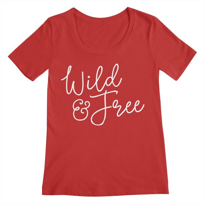 Wild & Free Women's Regular Scoop Neck by Red Pixel Studios