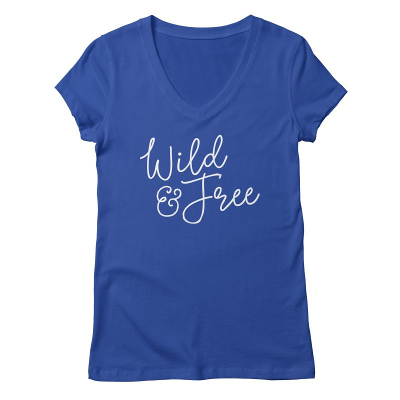 Wild & Free Women's Regular V-Neck by Red Pixel Studios