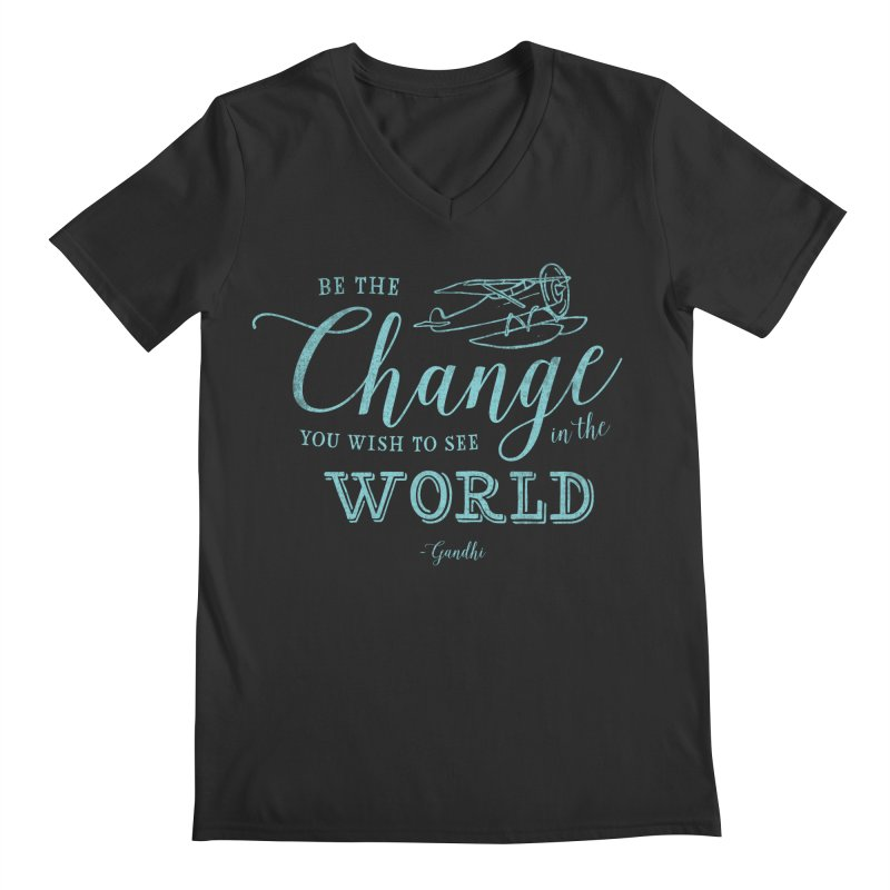 Be the Change Men's Regular V-Neck by Red Pixel Studios