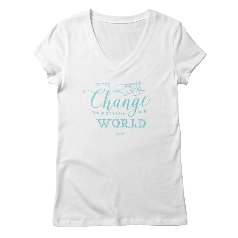 Be the Change Women's Regular V-Neck by Red Pixel Studios