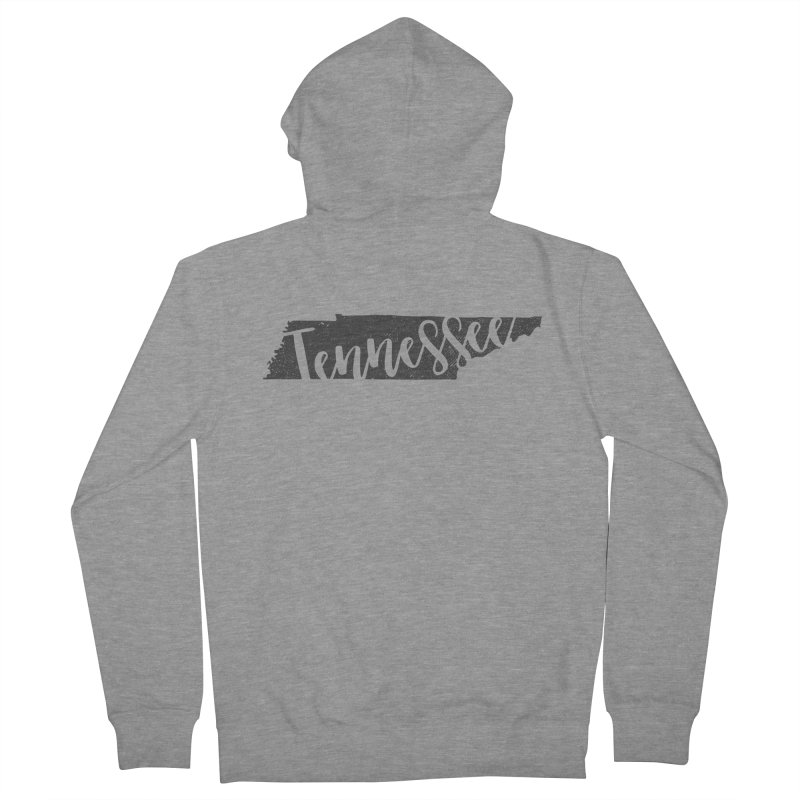 Tennessee Script Map - In Gray Men's French Terry Zip-Up Hoody by Red Pixel Studios