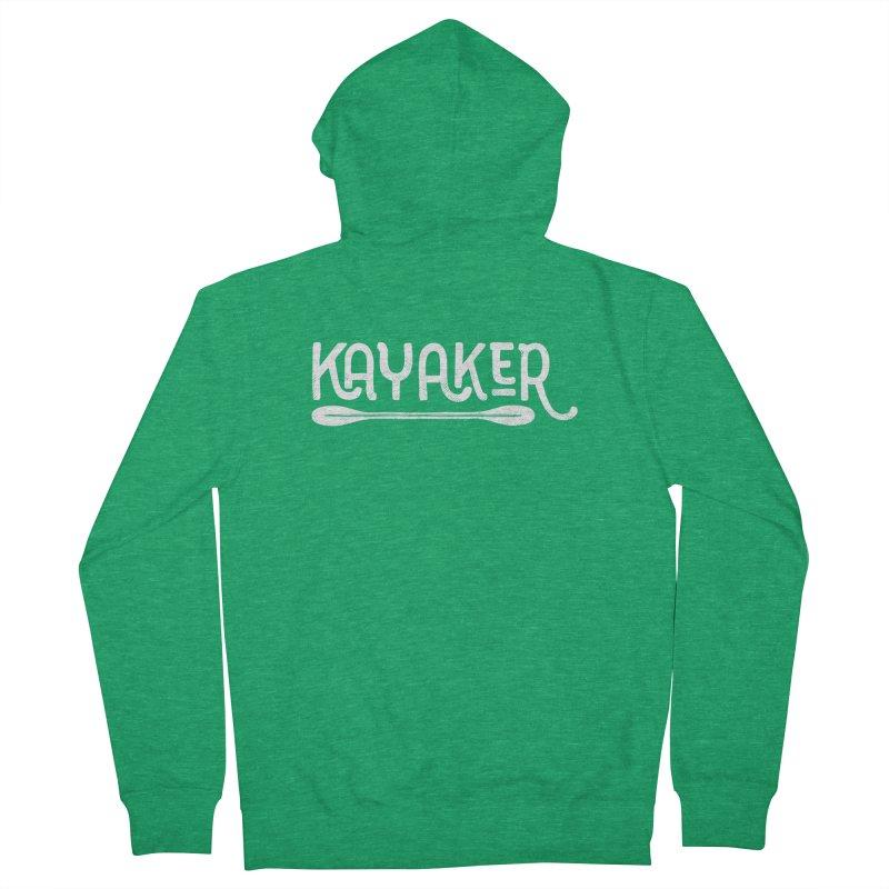 Kayaker - In White Men's Zip-Up Hoody by Red Pixel Studios