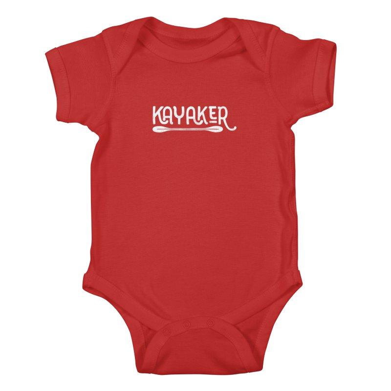 Kayaker - In White Kids Baby Bodysuit by Red Pixel Studios