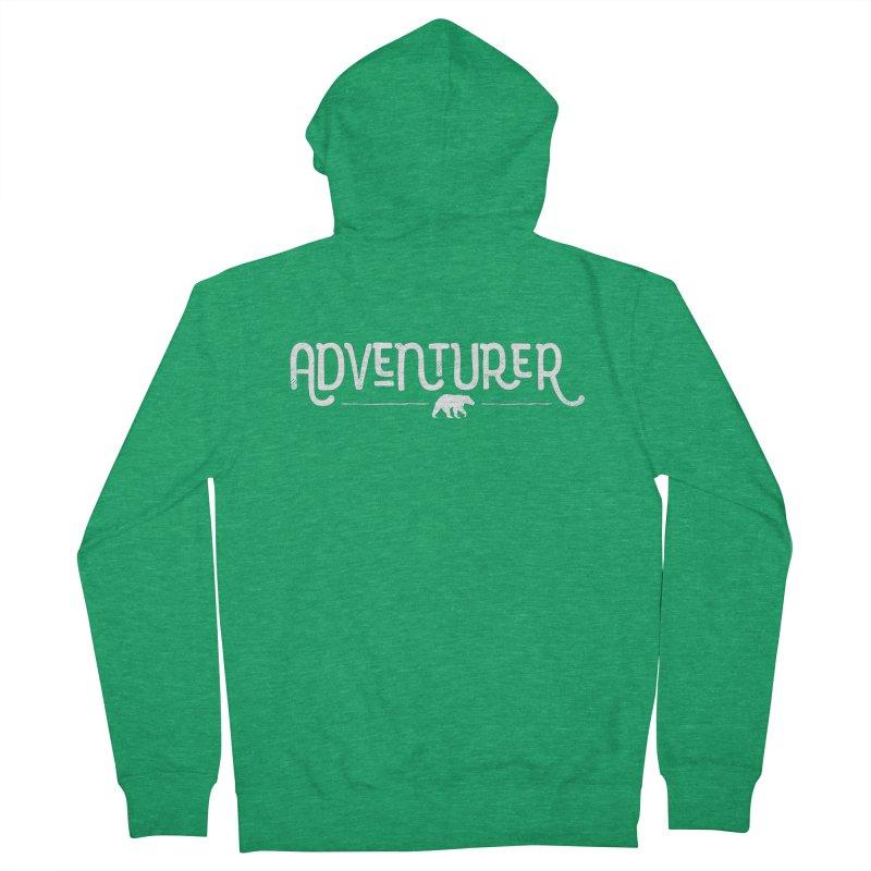 Adventurer - In White Men's Zip-Up Hoody by Red Pixel Studios