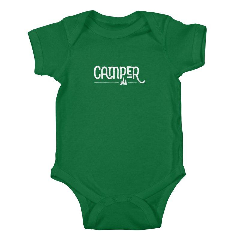 Camper - In White Kids Baby Bodysuit by Red Pixel Studios
