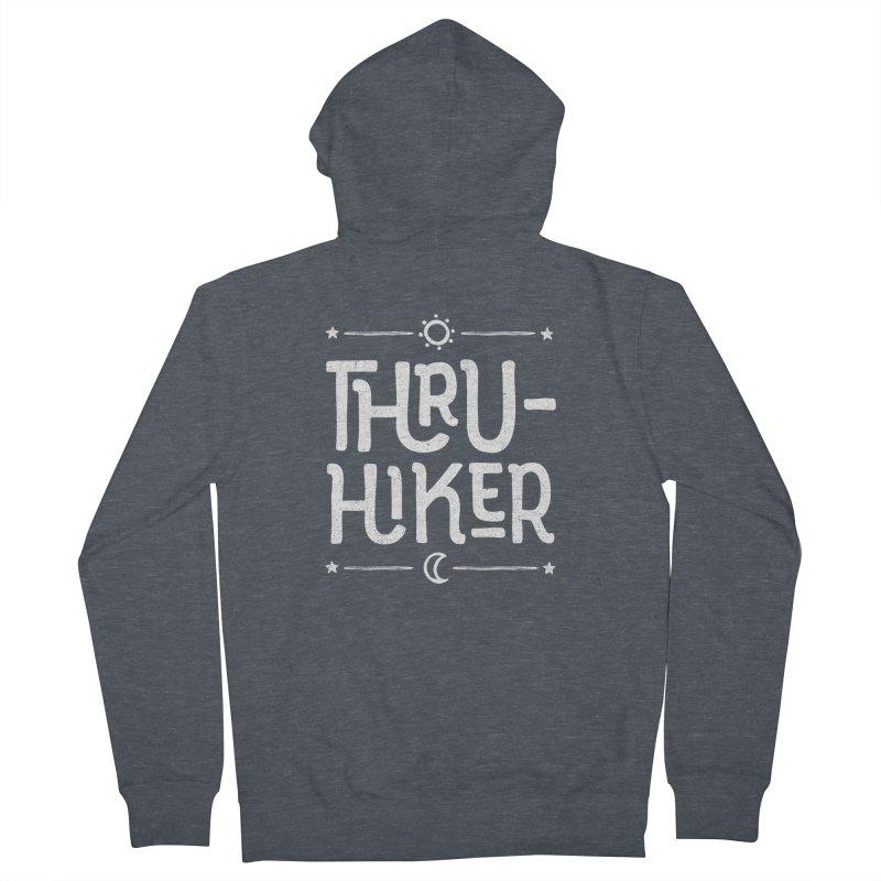 Thru-Hiker - In White Men's French Terry Zip-Up Hoody by Red Pixel Studios