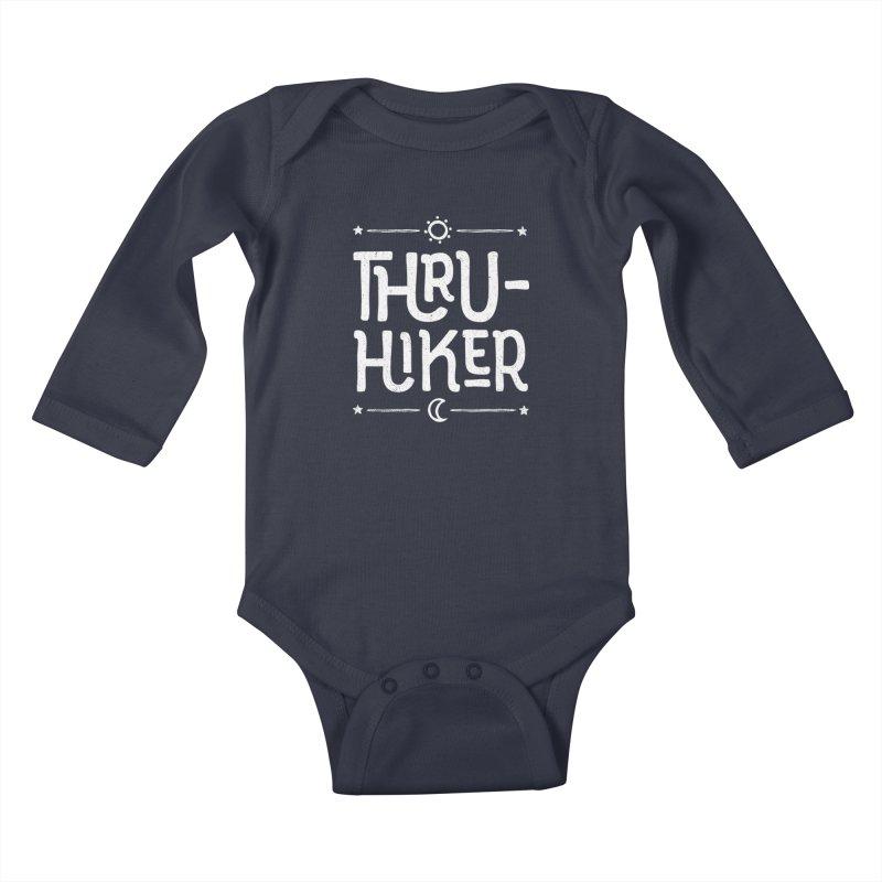 Thru-Hiker - In White Kids Baby Longsleeve Bodysuit by Red Pixel Studios