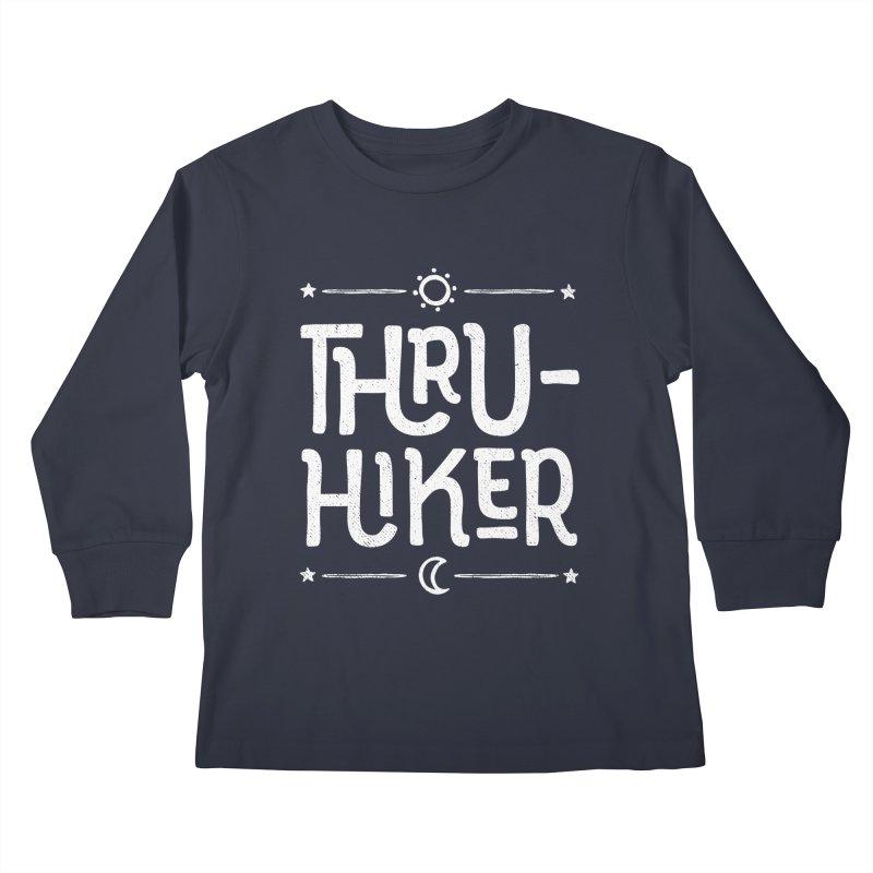 Thru-Hiker - In White Kids Longsleeve T-Shirt by Red Pixel Studios