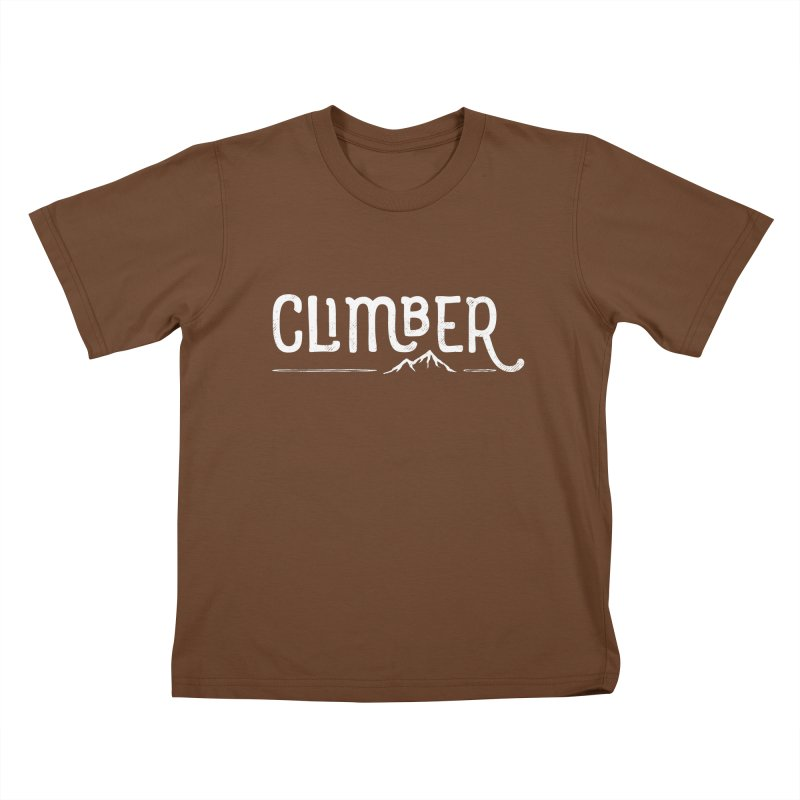 Climber - In White Kids T-Shirt by Red Pixel Studios