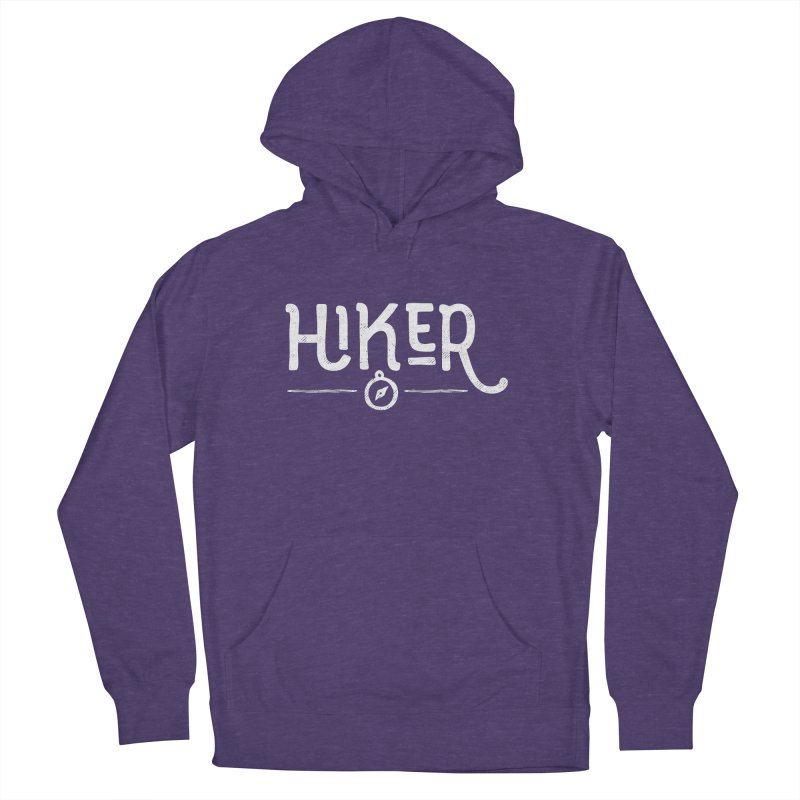 Hiker - In White Women's French Terry Pullover Hoody by Red Pixel Studios