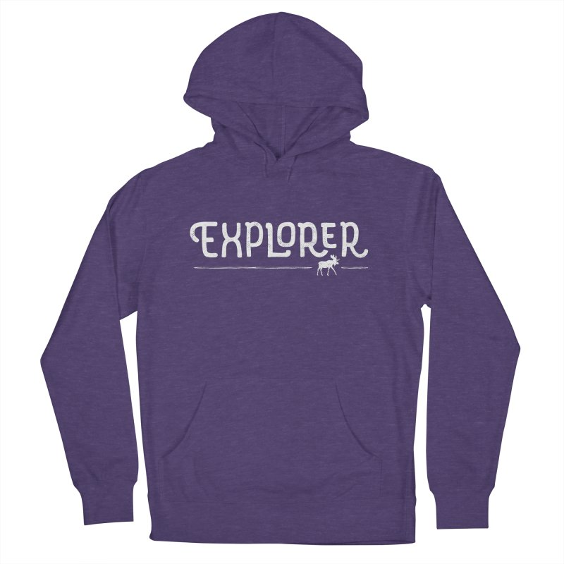 Explorer - In White Women's French Terry Pullover Hoody by Red Pixel Studios