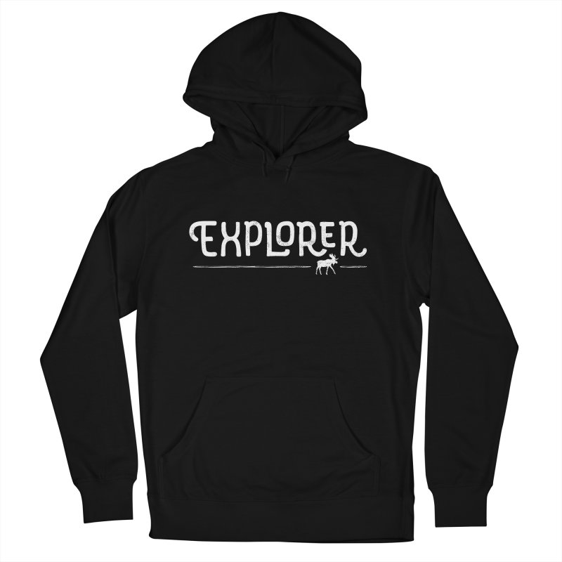 Explorer - In White Men's French Terry Pullover Hoody by Red Pixel Studios