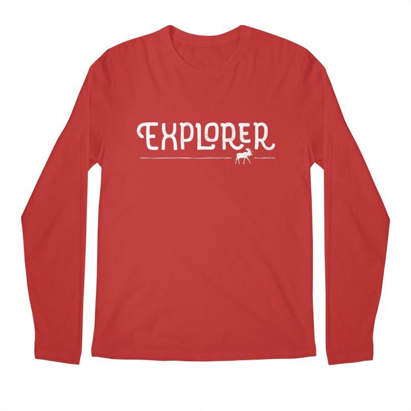 Explorer - In White Men's Regular Longsleeve T-Shirt by Red Pixel Studios