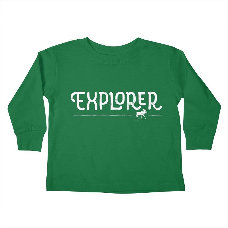 Explorer - In White Kids Toddler Longsleeve T-Shirt by Red Pixel Studios