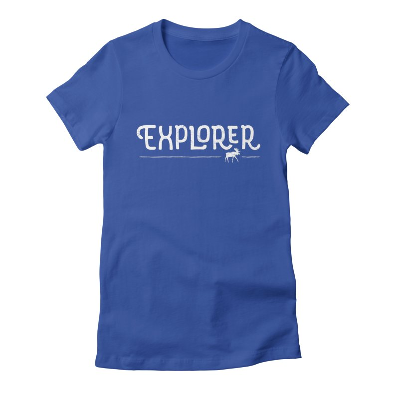 Explorer - In White Women's Fitted T-Shirt by Red Pixel Studios