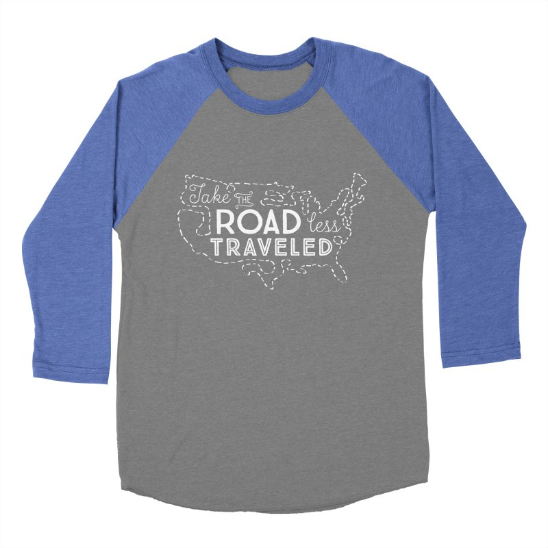 Road Less Traveled Men's Baseball Triblend Longsleeve T-Shirt by Red Pixel Studios