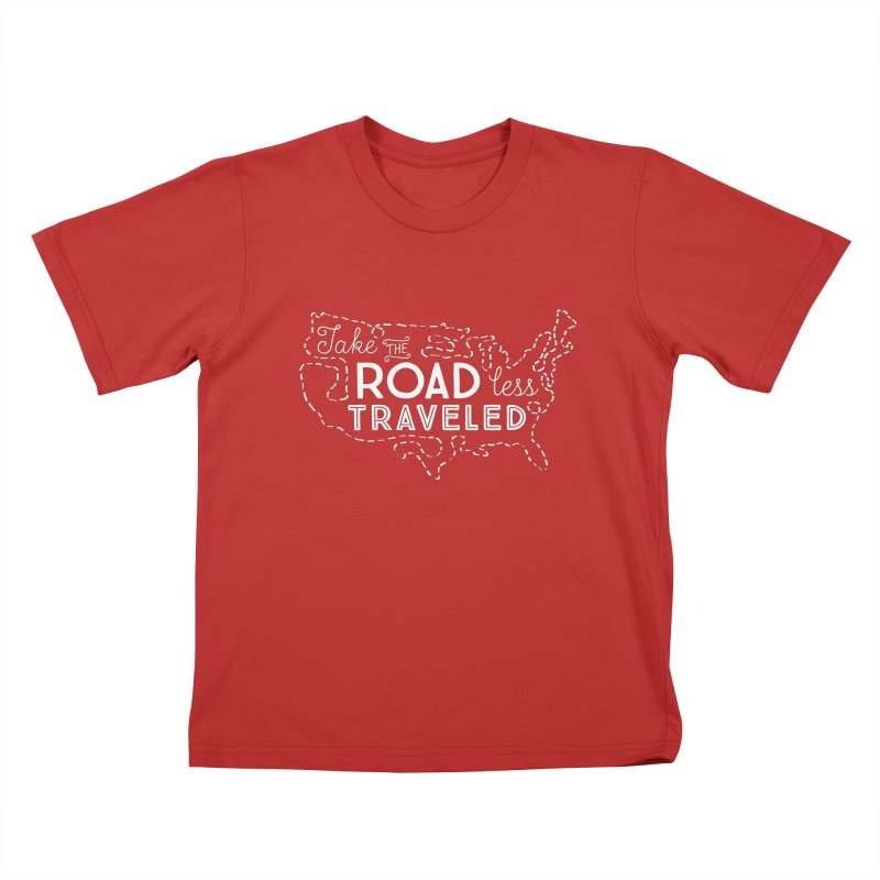 Road Less Traveled Kids T-Shirt by Red Pixel Studios