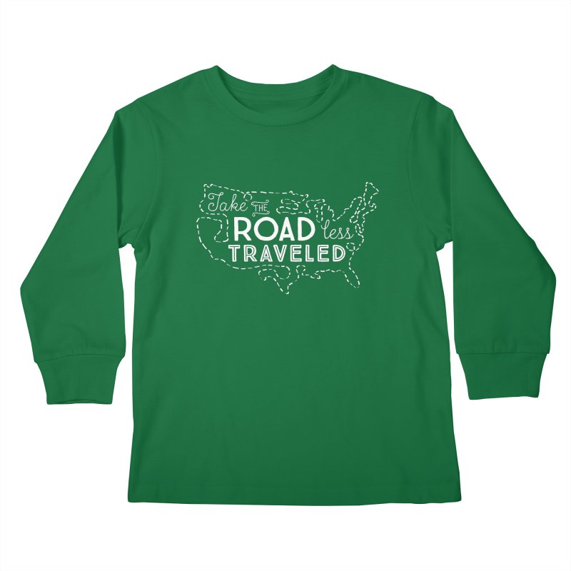Road Less Traveled Kids Longsleeve T-Shirt by Red Pixel Studios