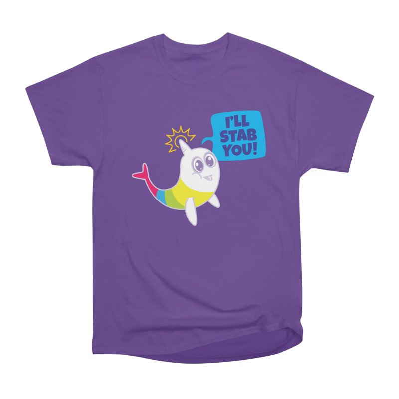 Stabby McNarwhal in Men's Heavyweight T-Shirt Purple by Red Robot