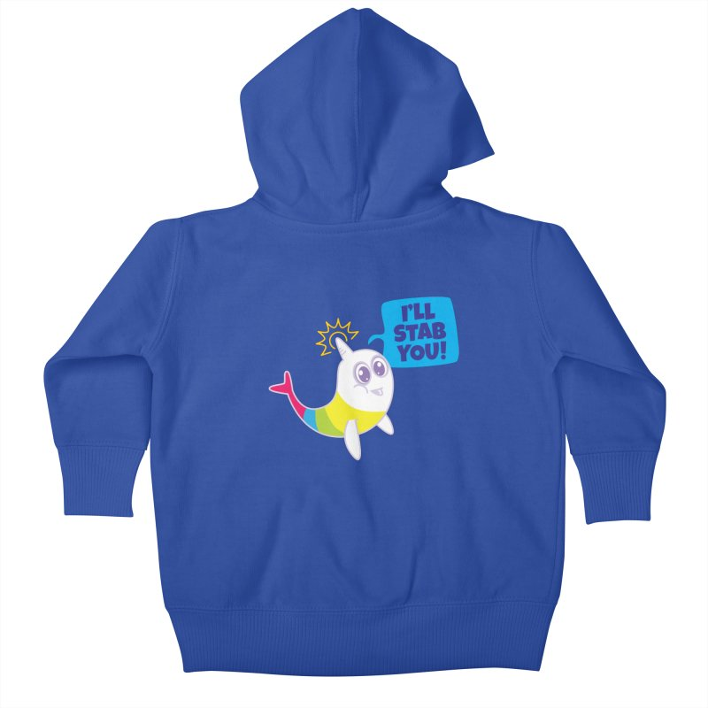 Stabby McNarwhal Kids Baby Zip-Up Hoody by Red Robot