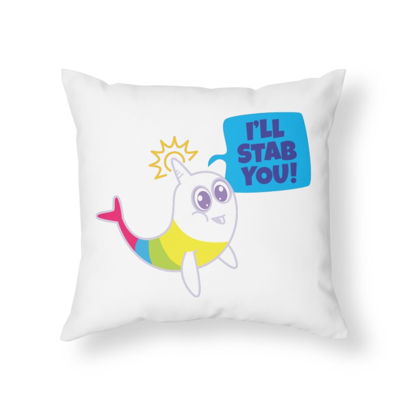 Stabby McNarwhal Home Throw Pillow by Red Robot