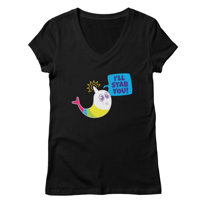 Stabby McNarwhal Women's V-Neck by Red Robot