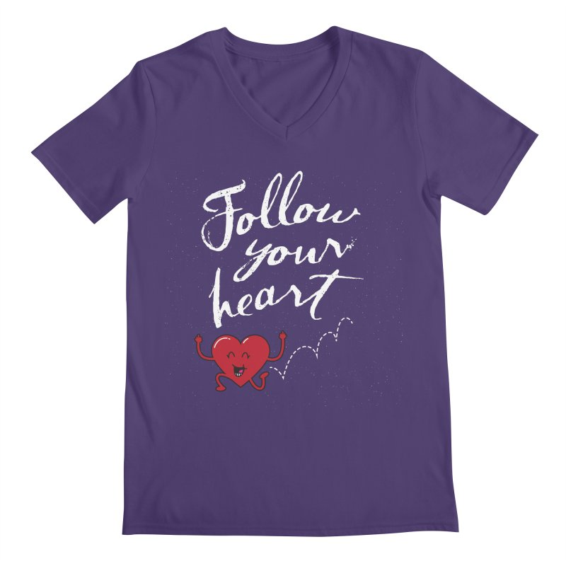 Follow Your Heart Men's V-Neck by Red Robot